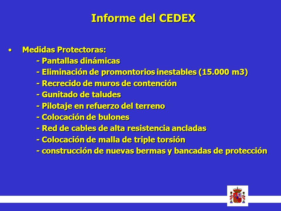 Informe del CEDEX Medidas Protectoras:Medidas Protectoras: - Pantallas dinámicas - Eliminación de promontorios inestables (15.000 m3) - Recrecido de m