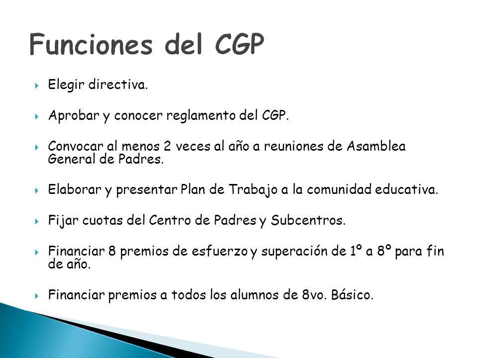 Elegir directiva. Aprobar y conocer reglamento del CGP. Convocar al menos 2 veces al año a reuniones de Asamblea General de Padres. Elaborar y present