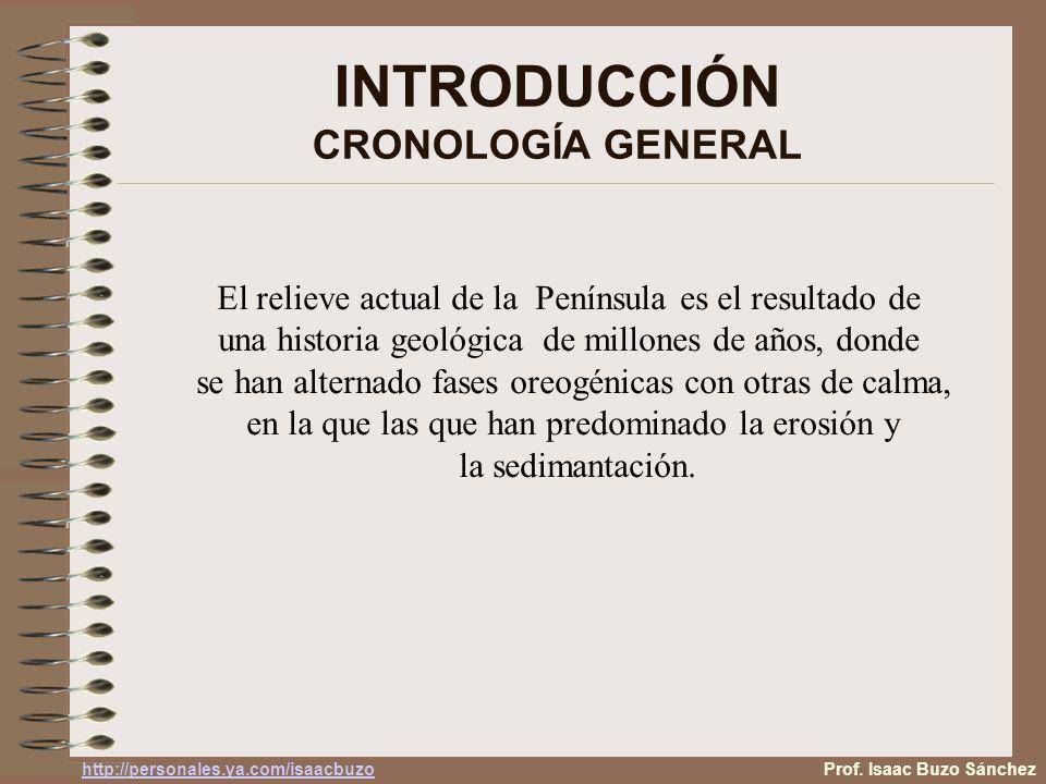 INTRODUCCIÓN CRONOLOGÍA GENERAL Prof. Isaac Buzo Sánchez http://personales.ya.com/isaacbuzo El relieve actual de la Península es el resultado de una h
