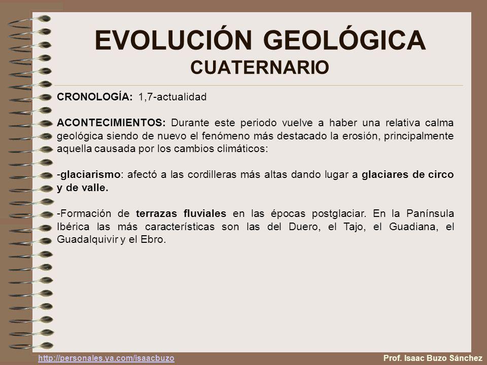 EVOLUCIÓN GEOLÓGICA CUATERNARIO Prof. Isaac Buzo Sánchez CRONOLOGÍA: 1,7-actualidad ACONTECIMIENTOS: Durante este periodo vuelve a haber una relativa