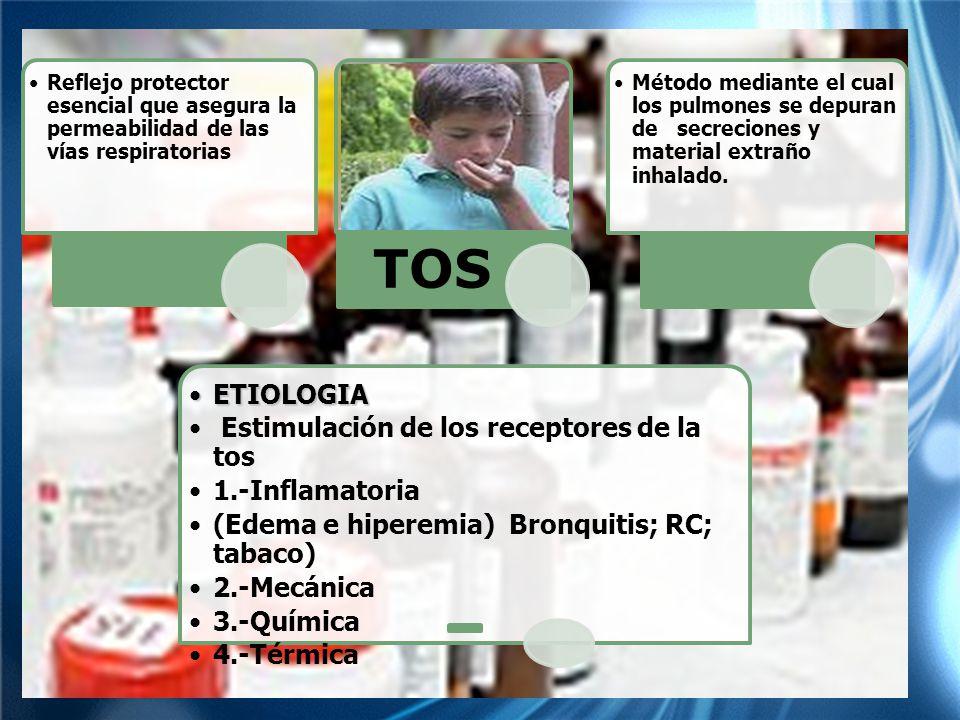 Reflejo protector esencial que asegura la permeabilidad de las vías respiratorias TOS Método mediante el cual los pulmones se depuran de secreciones y material extraño inhalado.