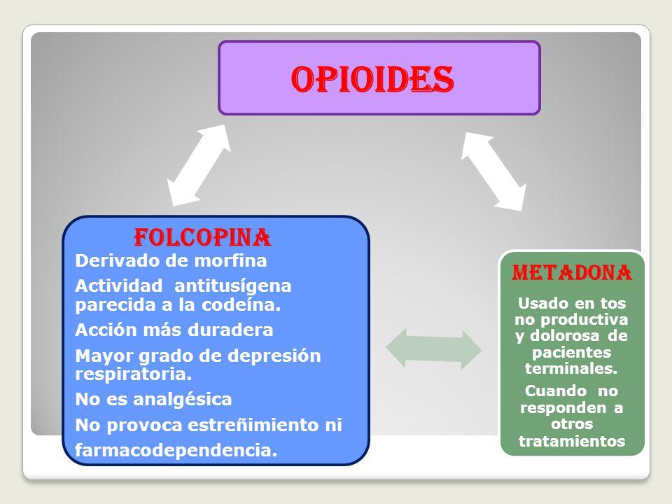 OPIOIDES METADONA Usado en tos no productiva y dolorosa de pacientes terminales.