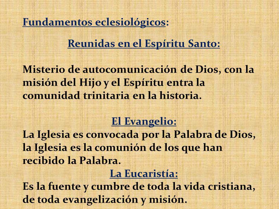 Fundamentos eclesiológicos: Reunidas en el Espíritu Santo: Misterio de autocomunicación de Dios, con la misión del Hijo y el Espíritu entra la comunid