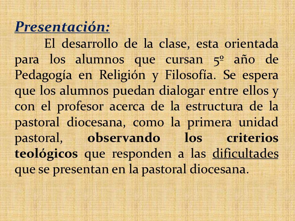 Presentación: El desarrollo de la clase, esta orientada para los alumnos que cursan 5º año de Pedagogía en Religión y Filosofía.