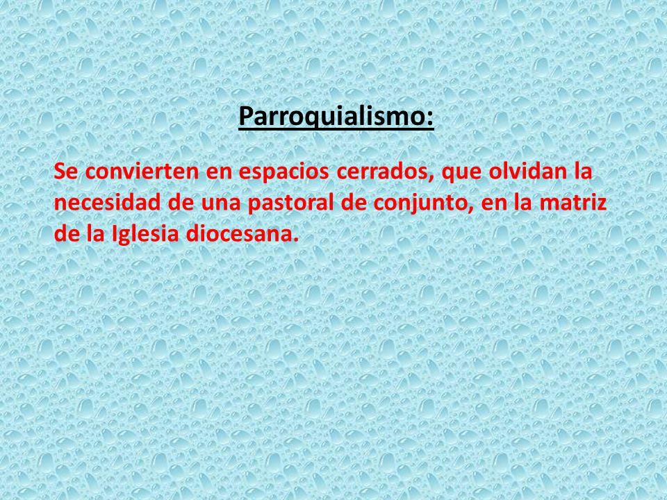 Parroquialismo: Se convierten en espacios cerrados, que olvidan la necesidad de una pastoral de conjunto, en la matriz de la Iglesia diocesana.