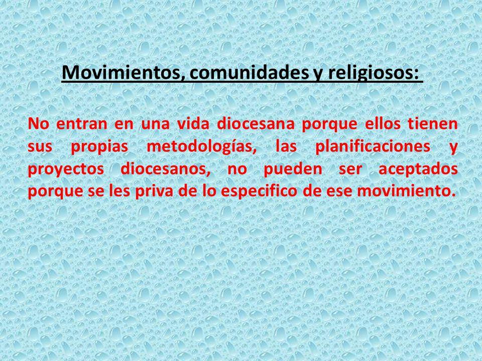 No entran en una vida diocesana porque ellos tienen sus propias metodologías, las planificaciones y proyectos diocesanos, no pueden ser aceptados porq