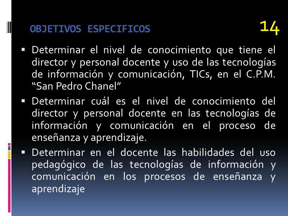 OBJETIVOS ESPECIFICOS Determinar el nivel de conocimiento que tiene el director y personal docente y uso de las tecnologías de información y comunicac