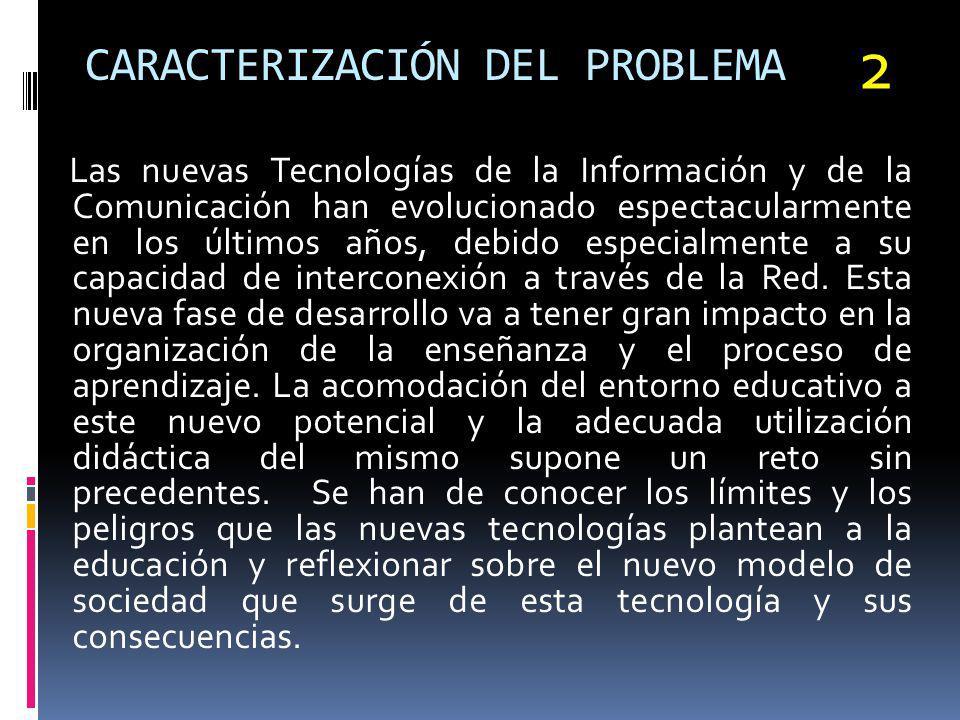 CARACTERIZACIÓN DEL PROBLEMA Las nuevas Tecnologías de la Información y de la Comunicación han evolucionado espectacularmente en los últimos años, deb