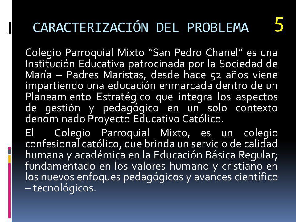 CARACTERIZACIÓN DEL PROBLEMA Colegio Parroquial Mixto San Pedro Chanel es una Institución Educativa patrocinada por la Sociedad de María – Padres Mari