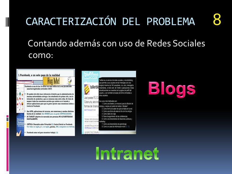 CARACTERIZACIÓN DEL PROBLEMA Contando además con uso de Redes Sociales como: 8