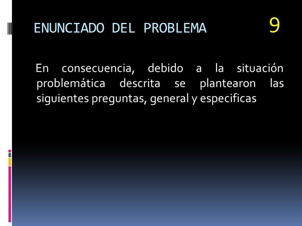 ENUNCIADO DEL PROBLEMA En consecuencia, debido a la situación problemática descrita se plantearon las siguientes preguntas, general y especificas 9