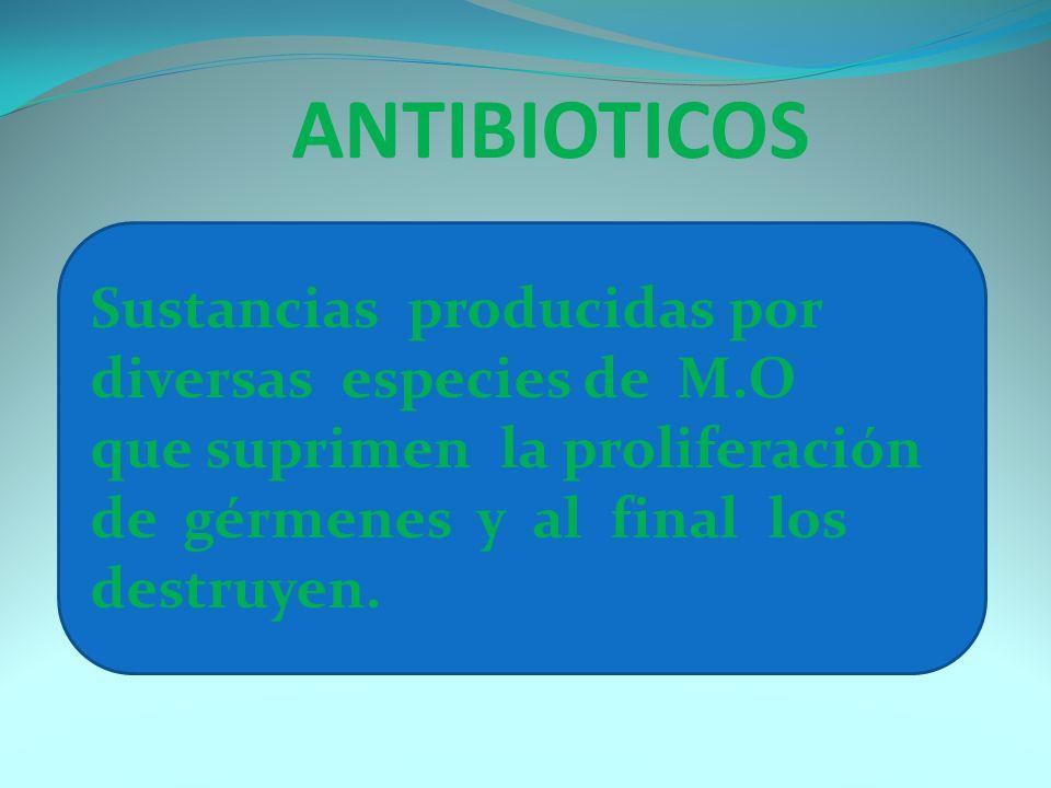 ANTIBIOTICOS Sustancias producidas por diversas especies de M.O que suprimen la proliferación de gérmenes y al final los destruyen.