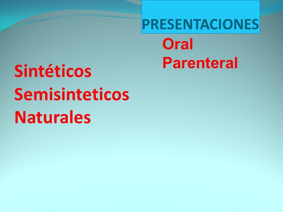 Sintéticos Semisinteticos Naturales PRESENTACIONES Oral Parenteral