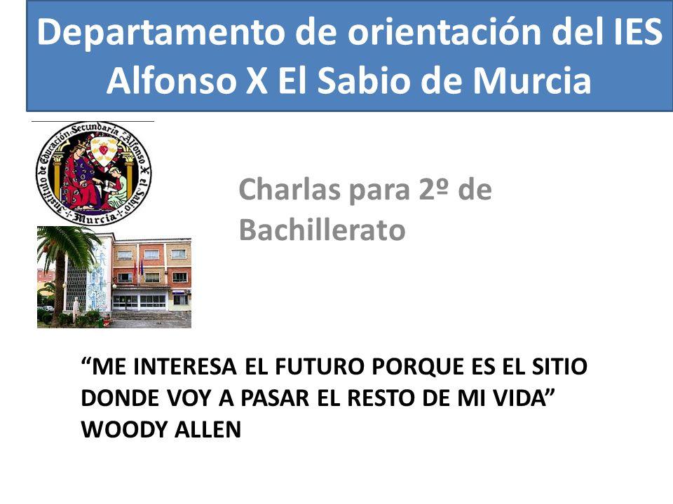 Departamento de orientación del IES Alfonso X El Sabio de Murcia ME INTERESA EL FUTURO PORQUE ES EL SITIO DONDE VOY A PASAR EL RESTO DE MI VIDA WOODY