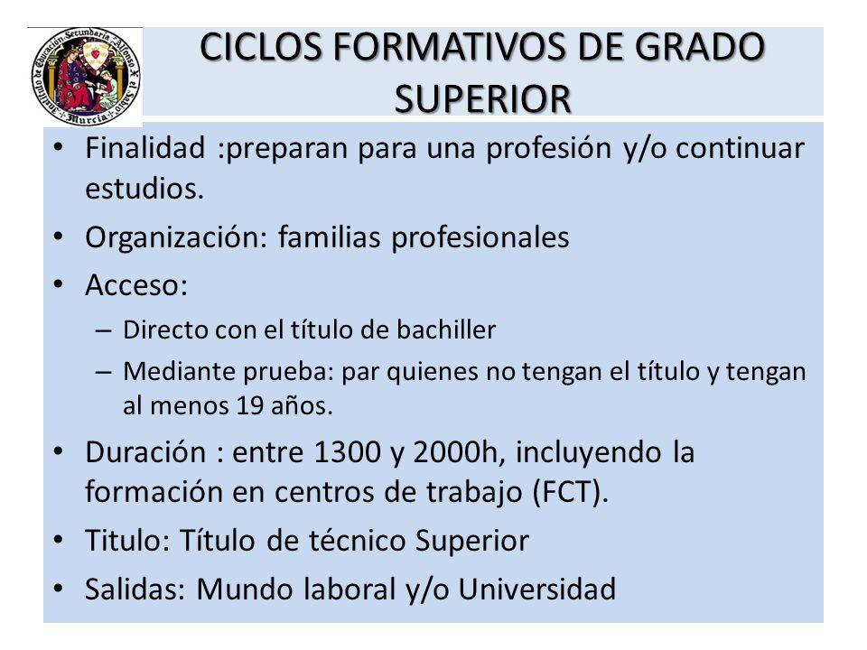 CICLOS FORMATIVOS DE GRADO SUPERIOR Finalidad :preparan para una profesión y/o continuar estudios. Organización: familias profesionales Acceso: – Dire