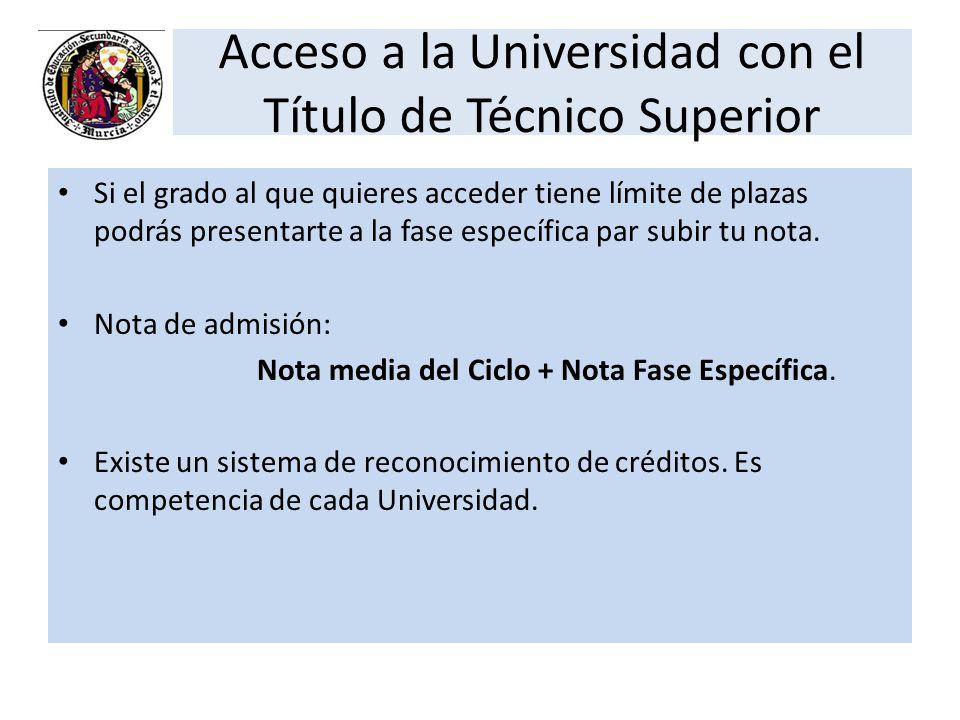 Acceso a la Universidad con el Título de Técnico Superior Si el grado al que quieres acceder tiene límite de plazas podrás presentarte a la fase espec