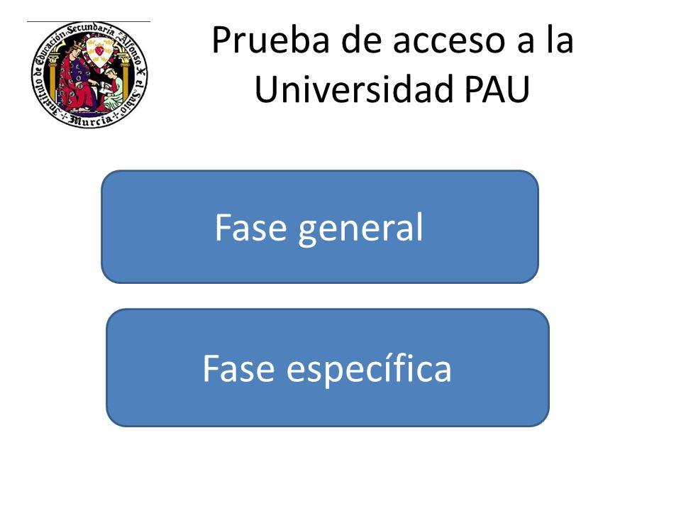 Prueba de acceso a la Universidad PAU Fase general Fase específica