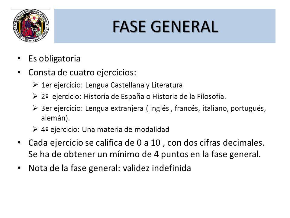 FASE GENERAL Es obligatoria Consta de cuatro ejercicios: 1er ejercicio: Lengua Castellana y Literatura 2º ejercicio: Historia de España o Historia de