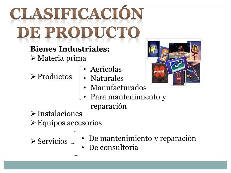 Bienes Industriales: Materia prima Productos Instalaciones Equipos accesorios Servicios Agrícolas Naturales Manufacturados Para mantenimiento y repara
