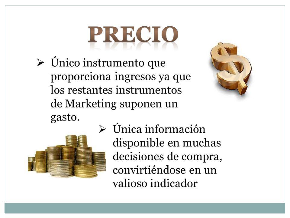 Único instrumento que proporciona ingresos ya que los restantes instrumentos de Marketing suponen un gasto. Única información disponible en muchas dec