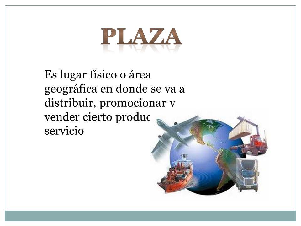 Es lugar físico o área geográfica en donde se va a distribuir, promocionar y vender cierto producto o servicio