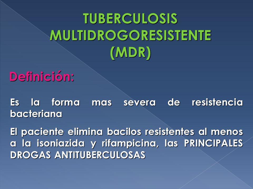 Es la forma mas severa de resistencia bacteriana El paciente elimina bacilos resistentes al menos a la isoniazida y rifampicina, las PRINCIPALES DROGAS ANTITUBERCULOSAS TUBERCULOSIS MULTIDROGORESISTENTE (MDR) Definición: