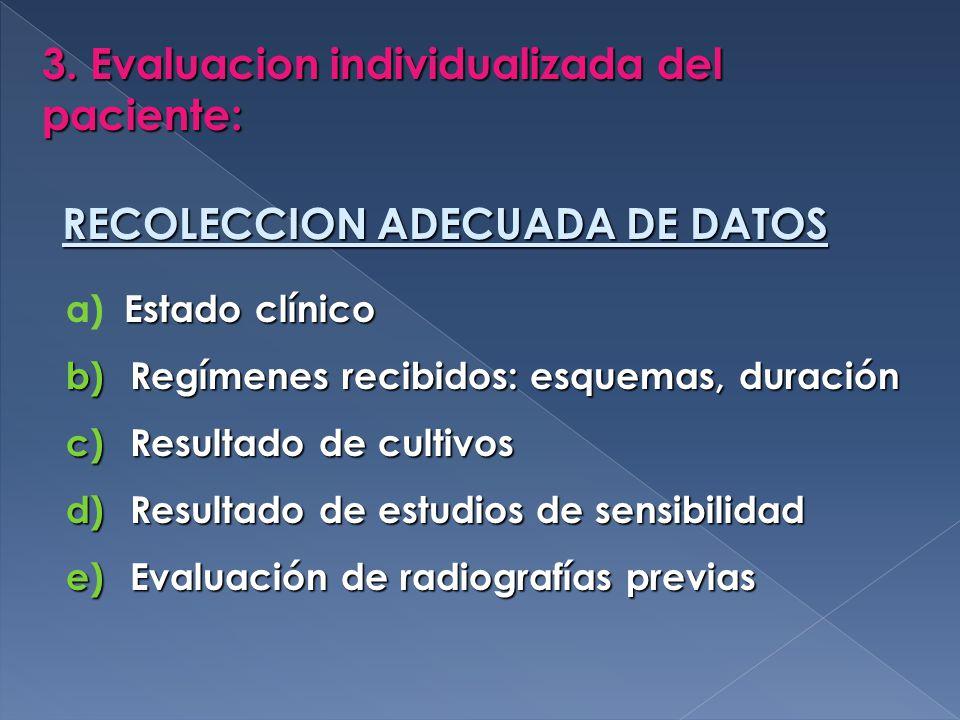 3. Evaluacion individualizada del paciente: RECOLECCION ADECUADA DE DATOS Estado clínico a) Estado clínico b) Regímenes recibidos: esquemas, duración