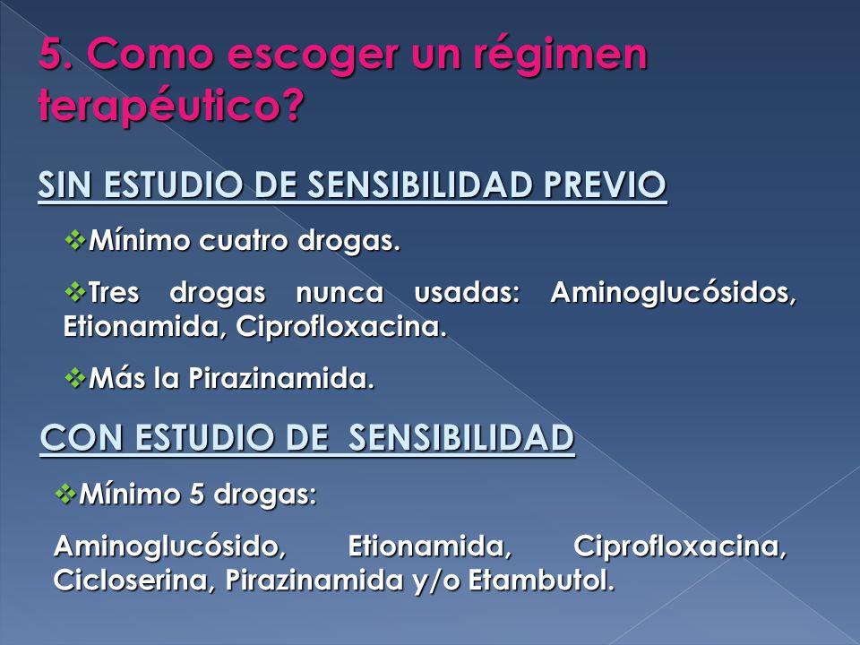 5.Como escoger un régimen terapéutico. SIN ESTUDIO DE SENSIBILIDAD PREVIO Mínimo cuatro drogas.