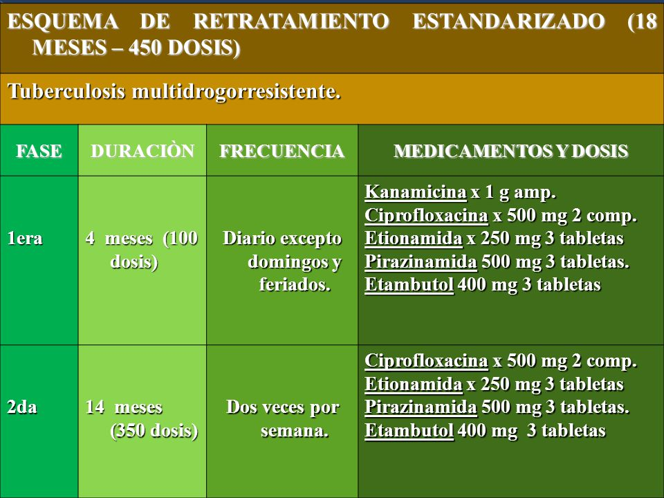 ESQUEMA DE RETRATAMIENTO ESTANDARIZADO (18 MESES – 450 DOSIS) Tuberculosis multidrogorresistente.