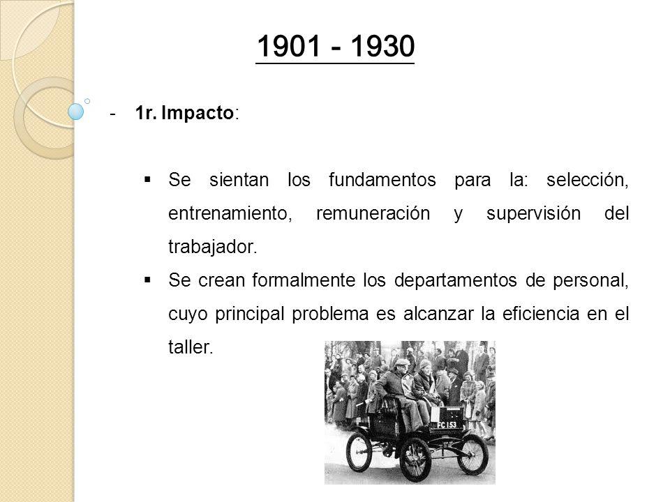 -1r. Impacto: Se sientan los fundamentos para la: selección, entrenamiento, remuneración y supervisión del trabajador. Se crean formalmente los depart