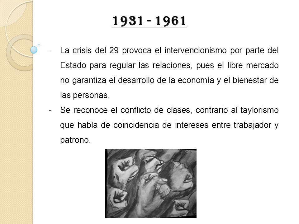 -La crisis del 29 provoca el intervencionismo por parte del Estado para regular las relaciones, pues el libre mercado no garantiza el desarrollo de la