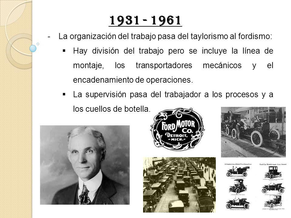 -La organización del trabajo pasa del taylorismo al fordismo: Hay división del trabajo pero se incluye la línea de montaje, los transportadores mecáni