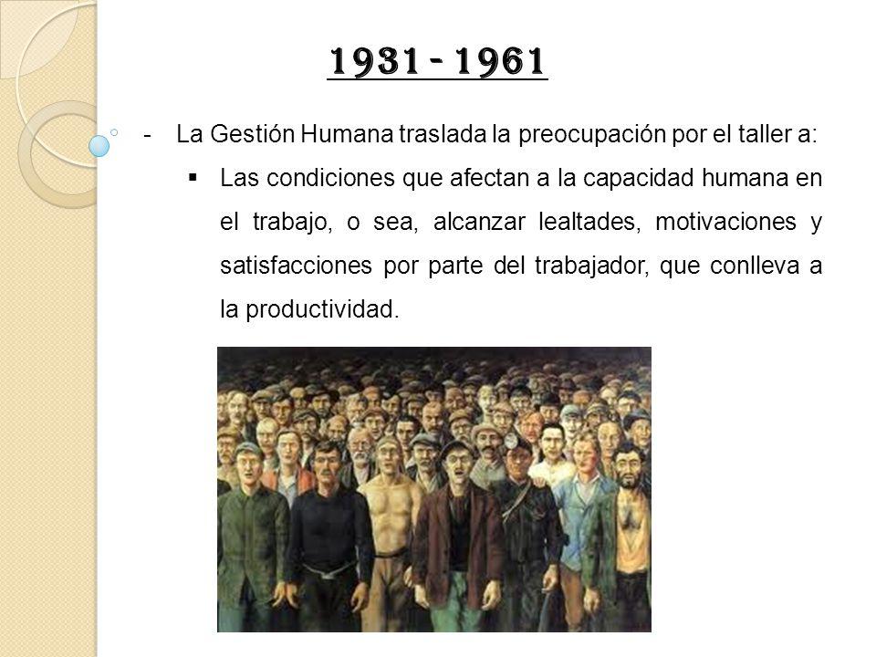 -La Gestión Humana traslada la preocupación por el taller a: Las condiciones que afectan a la capacidad humana en el trabajo, o sea, alcanzar lealtade