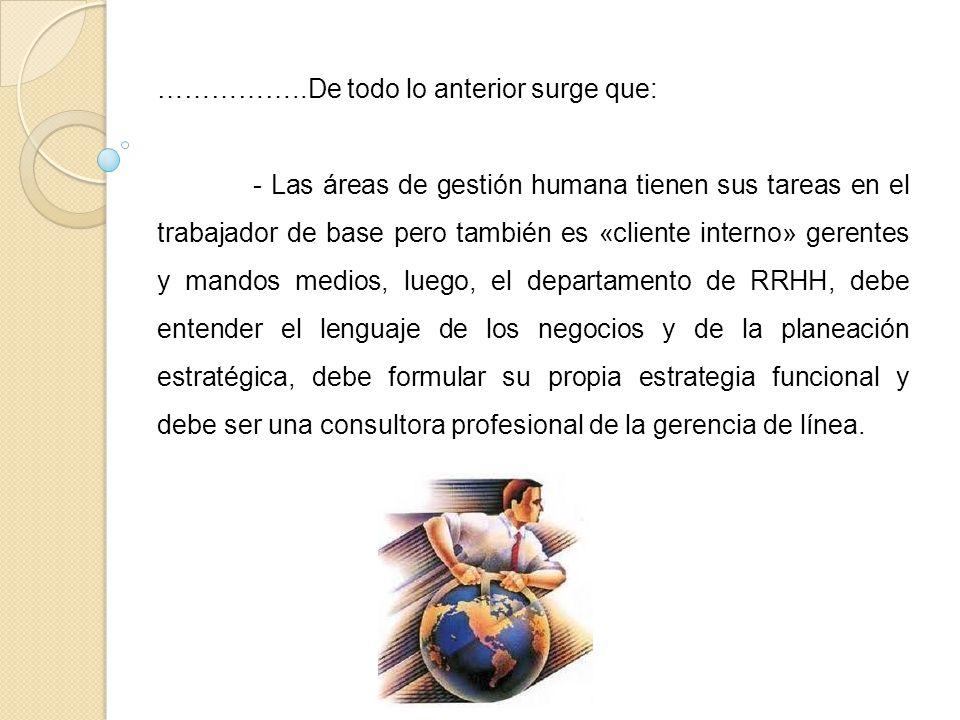 ……………..De todo lo anterior surge que: - Las áreas de gestión humana tienen sus tareas en el trabajador de base pero también es «cliente interno» geren