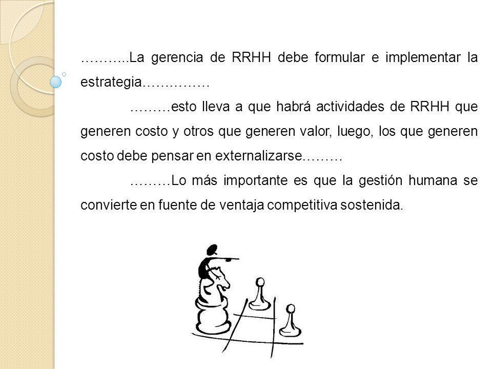 ………..La gerencia de RRHH debe formular e implementar la estrategia…………… ………esto lleva a que habrá actividades de RRHH que generen costo y otros que ge