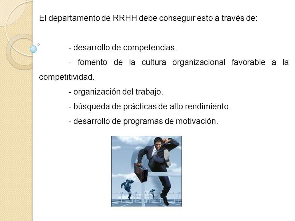 El departamento de RRHH debe conseguir esto a través de: - desarrollo de competencias. - fomento de la cultura organizacional favorable a la competiti