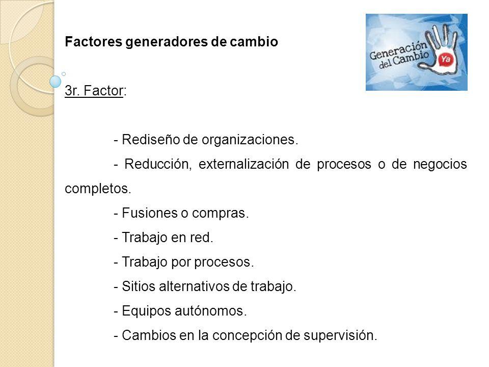 Factores generadores de cambio 3r. Factor: - Rediseño de organizaciones. - Reducción, externalización de procesos o de negocios completos. - Fusiones