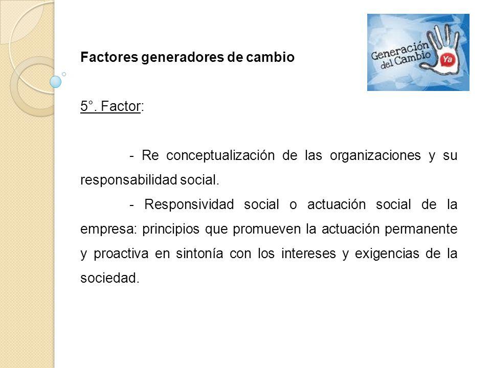 Factores generadores de cambio 5°. Factor: - Re conceptualización de las organizaciones y su responsabilidad social. - Responsividad social o actuació
