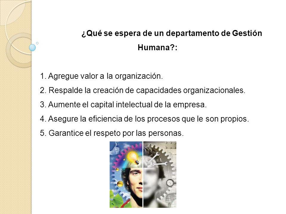 ¿Qué se espera de un departamento de Gestión Humana?: 1. Agregue valor a la organización. 2. Respalde la creación de capacidades organizacionales. 3.