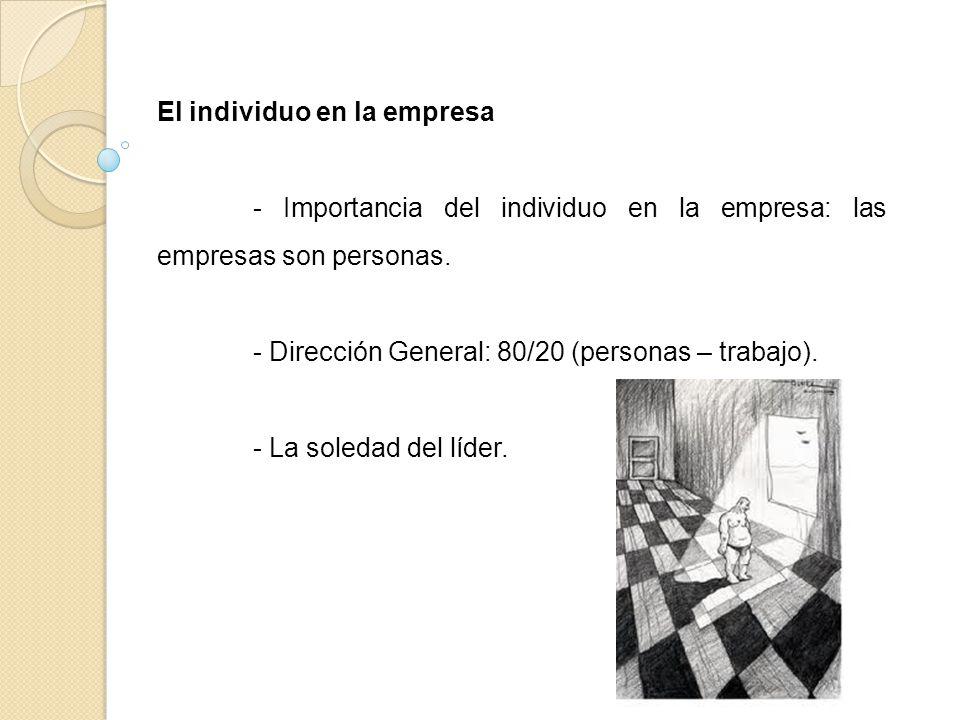 El individuo en la empresa - Importancia del individuo en la empresa: las empresas son personas. - Dirección General: 80/20 (personas – trabajo). - La