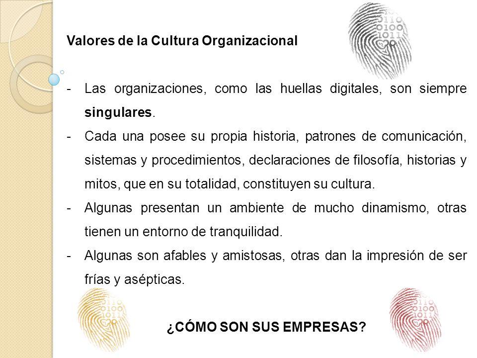 Valores de la Cultura Organizacional -Las organizaciones, como las huellas digitales, son siempre singulares. -Cada una posee su propia historia, patr