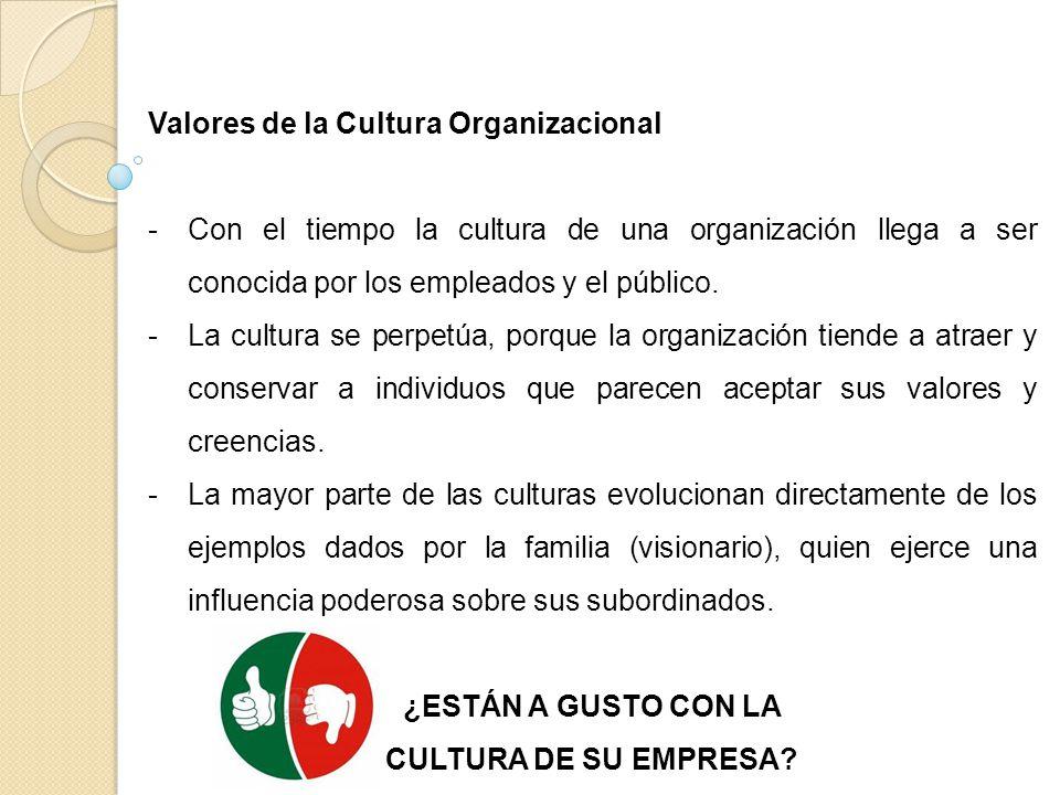 Valores de la Cultura Organizacional -Con el tiempo la cultura de una organización llega a ser conocida por los empleados y el público. -La cultura se