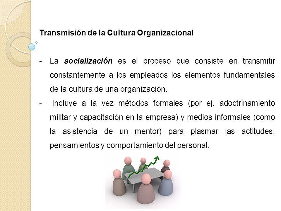 Transmisión de la Cultura Organizacional -La socialización es el proceso que consiste en transmitir constantemente a los empleados los elementos funda