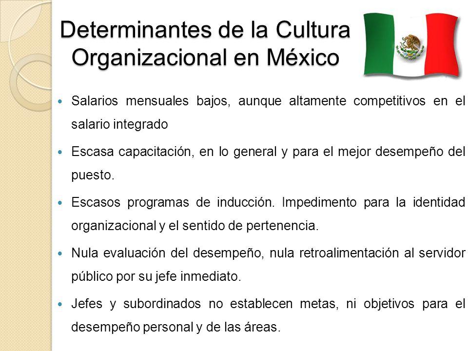 Determinantes de la Cultura Organizacional en México Salarios mensuales bajos, aunque altamente competitivos en el salario integrado Escasa capacitaci