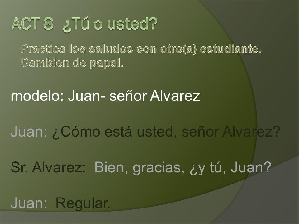 modelo: Juan- señor Alvarez Juan: ¿Cómo está usted, señor Alvarez.