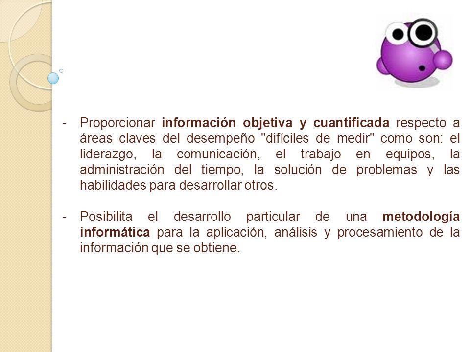 - -Proporcionar información objetiva y cuantificada respecto a áreas claves del desempeño