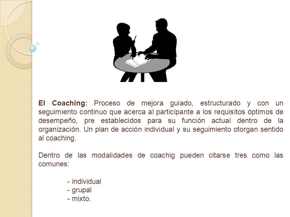 El Coaching: Proceso de mejora guiado, estructurado y con un seguimiento continuo que acerca al participante a los requisitos óptimos de desempeño, pr