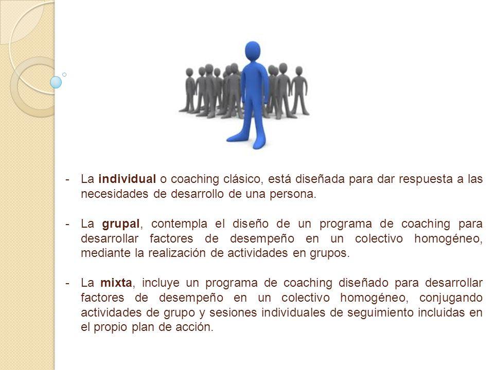- -La individual o coaching clásico, está diseñada para dar respuesta a las necesidades de desarrollo de una persona. - -La grupal, contempla el diseñ