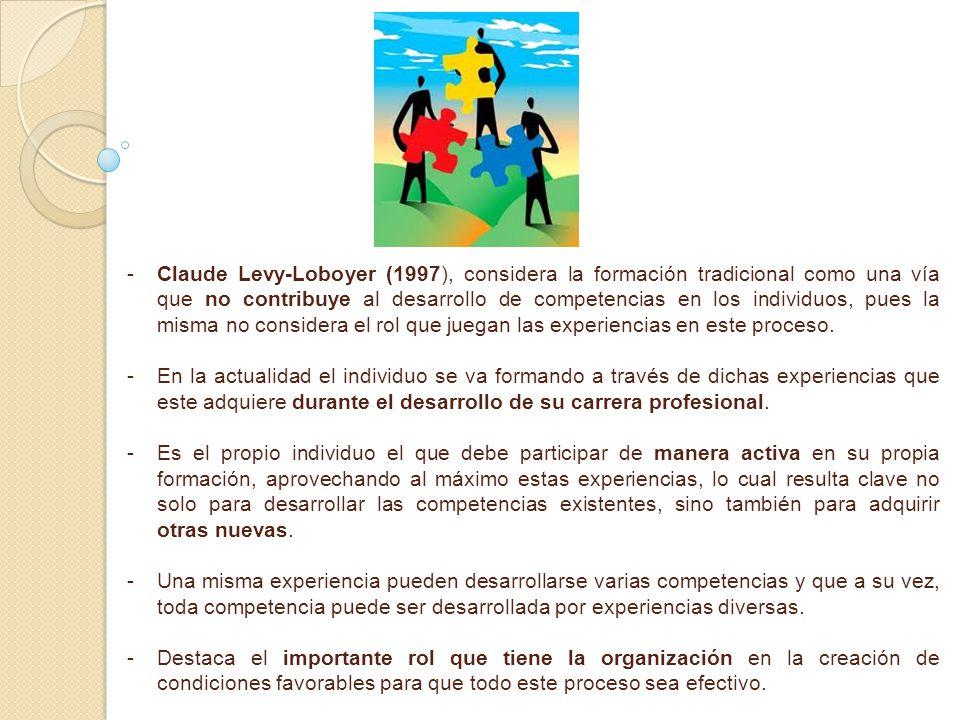 - -Claude Levy-Loboyer (1997), considera la formación tradicional como una vía que no contribuye al desarrollo de competencias en los individuos, pues