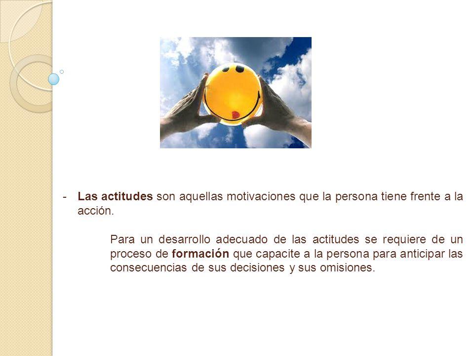 - -Las actitudes son aquellas motivaciones que la persona tiene frente a la acción. Para un desarrollo adecuado de las actitudes se requiere de un pro